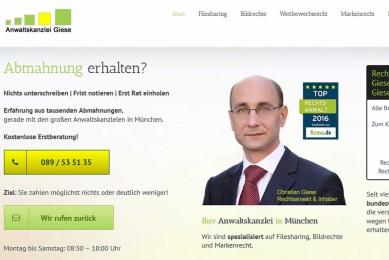 Design und Implementiereung der Fach-Internetseite einer Anwaltskanzleri speziell für das Thema Abmahnungen.